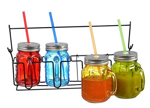 Set of 4 Colored Glass 16oz Mason Jars Mugs with Handles, Lids and Drinking Straws, Including Caddy Holder with Handle, Home and Party Drinkware Set, Blue Red Green Yellow Jars