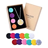 HooAMI Aromatherapy Essential Oil Diffuser Necklace - Colorful Angel Wing Locket Pendant,24'' Chain and 12 Refill Pads