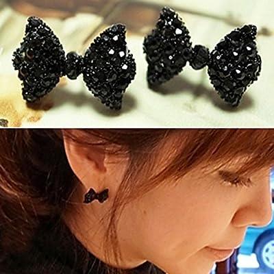RENYZ.ZKHN Bow Tie Ear Nail, Black Sesame, Black Sesame, Pearl Earrings, Black Sesame Earrings And Pearl Earrings