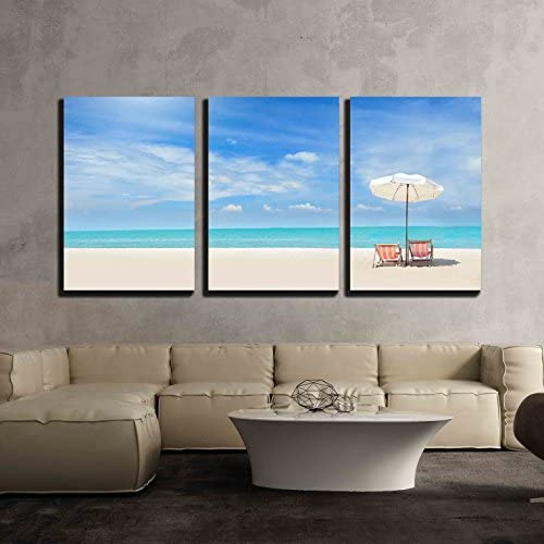 Beach Chairs on The White Sand Beach with Cloudy Blue Sky x3 Panels