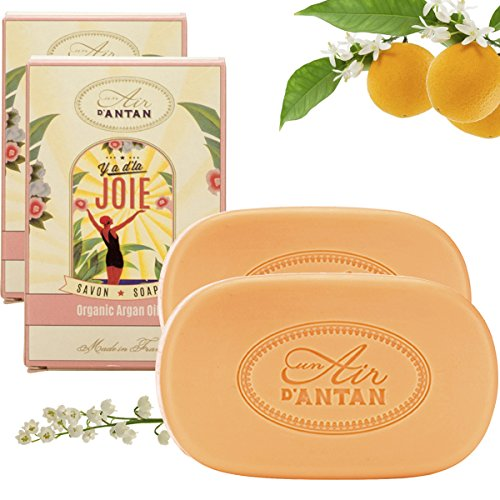 - Set Premium French Vintage Bar Soap JOIE with Organic Argan Oil and Organic Shea Butter Pack of 2x3.5 oz.Un Air d'Antan Exclusive Perfume White Flowers, Lily of the Valley Gentle, Moisturizing Formula