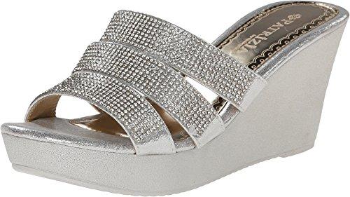 PATRIZIA Women's, Cinderella High Heel Wedge Platform Sandal Silver 3.9 M