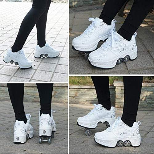 Wedsf Rétractable Multifonctions Chaussures Patins Roues Deformation Rouleaux Chaussures de Skate Chaussures Enfants Adultes Sports de Plein air Chaussures débutants Cadeaux