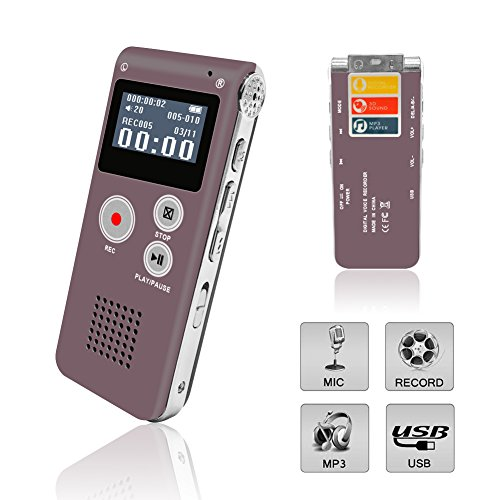 : Digital Voice Recorder, Portable Recorder, Multifunctional Rechargeable Dictaphone, FlatLED Audio Voice Recorder Dictaphone, MP3 Music Player with Mini USB Port and Color LCD display, Red-8GB