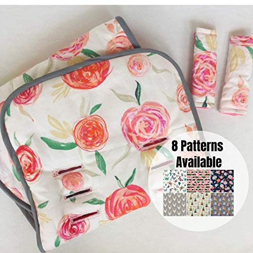 Universal Stroller Liner,Pram Liner, Watercolor Floral, Coral, Stroller Pad, Buggy Liner,Stroller Strap Covers, Infant Head Support,Infant Car Seat Strap Covers