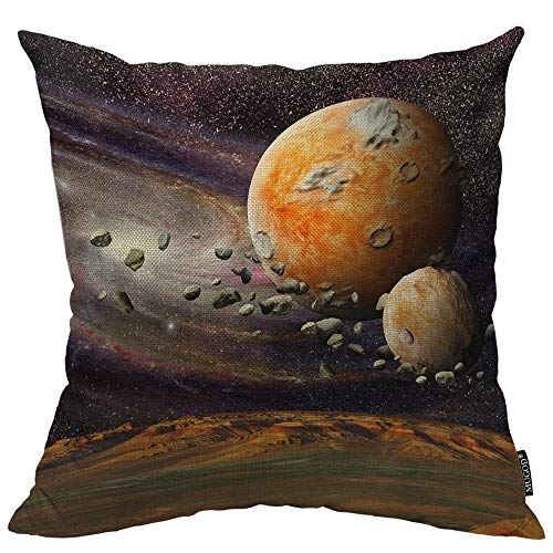 Mugod Planetary Decorative Pillow Case Mountains Earth View from Space Alien Planet Asteroid Belt Throw Pillow Cover Home Decor Cotton Linen Square Cushion Cover for Couch Bed Sofa 24X24 Inch ()