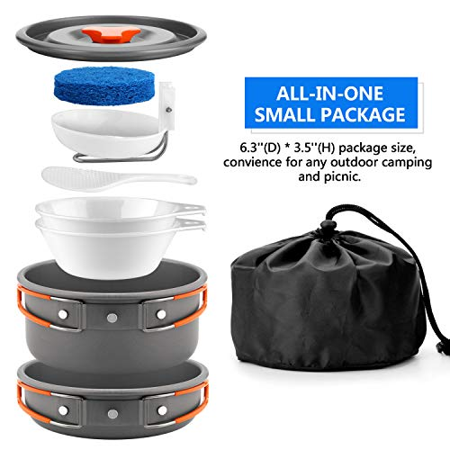 Odoland Camping Cookware Kit Non Stick Camping Pans For 1