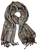 Plum Feathers Tapestry Ethnic Paisley Pattern Pashmina Scarf (Brown Tapestry)