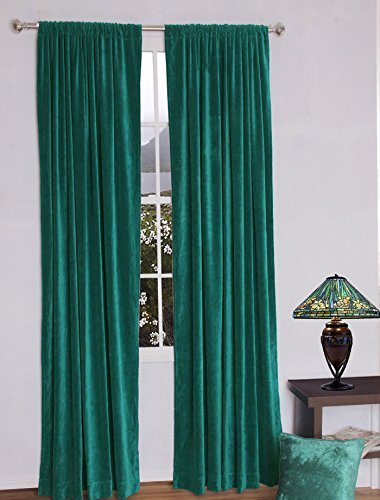 Fascination Royal 100%Thick Cotton Velvet lined Curtain ROD POCKET (54''w X 84''h, PEACOCK GREEN)