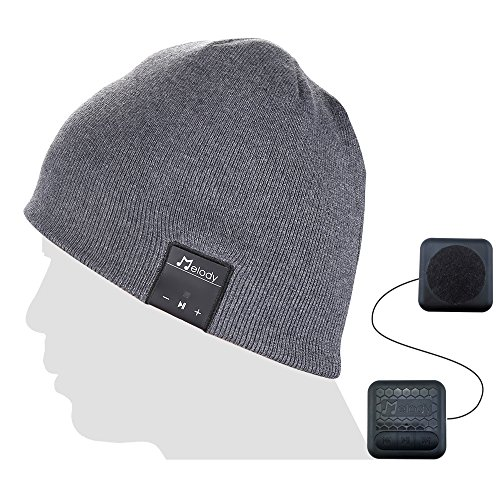 Coeuspow Bluetooth Music Beanie Cap, Wireless 4.1 Stereo Music Earphones Hat with CVC 6.0 Noise Cancelling,Built-in Mic Hand Free and Rechargeable Battery for All Cell Phones,Ipad,PDA-Grey