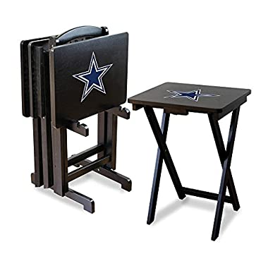 Imperial Officially Licensed NFL Foldable Wood TV Tray Table Set with Stand, Dallas Cowboys