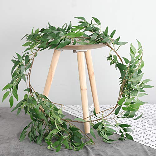 Home Queen Willow Garlands Artificial Greenery 6FT, Faux Silk Eucalyptus Leaves Vines Wreath for Wedding Christmas Backdrop Wall Decor Flower Arrangement, 2 PCS