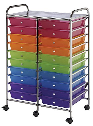 20-Drawer Interlocking Tubular Steel Storage Cart on Casters by Alvin and Company