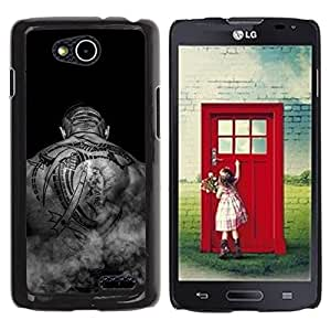 PC/Aluminum Funda Carcasa protectora para LG OPTIMUS L90 / D415 Tattoo Art Black White Back Bald Man Muscles / JUSTGO PHONE PROTECTOR