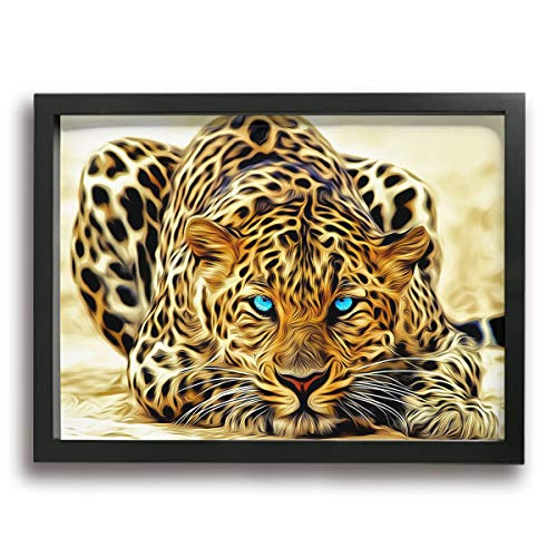 Fashion Printed Framed Canvas Wall Art - Cool 3D Leopard Graphics Decorative Painting Hanging Picture Artwork for Home Wall Decoration 15.74 X 11.81 Inch