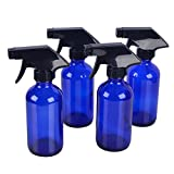 4 pack 8 oz Blue Glass Spray Bottle Bottles with Black Trigger Sprayer