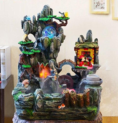 GL&G Rockery Water Resin Crafts Indoor Tabletop Fountains Home office Lucky Ornaments Humidifier Parts Floor-Standing Fountains Creative Wedding Gifts,493658cm