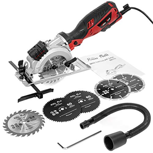XtremepowerUS Electric Circular Saw Compact Saw with 6 Saw Blade (4-1/2″) with Beam Guide 3500RPM for Wood, Soft Metal, PVC, Tile and Plastic Cuts