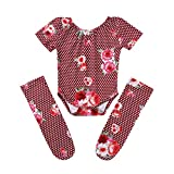 HANANei 3PCS Baby Girl Floral Romper+Stockings Set Newborn Bodysuit Clothes Outfit 0-18M (80, Wine)
