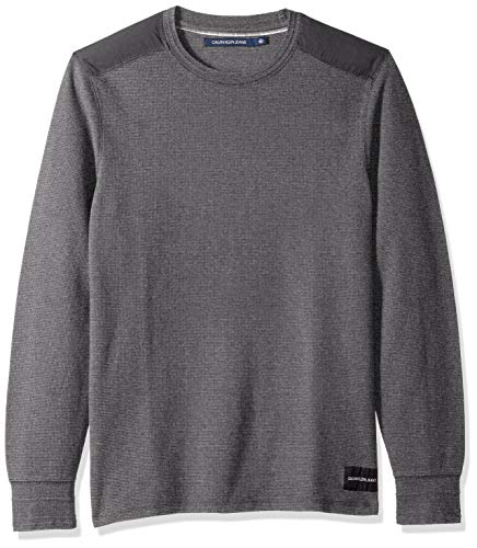 Calvin Klein Jeans Men's Long Sleeve Thermal Waffle Crew Neck Shirt, Grindle Heather, X-Large