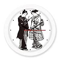 Japan Traditional Culture Black Kimono Women Samurai Sword Line Drawing Sketch Japanese Style Art Illustration Silent Non-ticking Round Wall Decorative Clock Home Decal