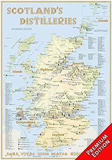 whisky distilleries scotland poster 70x100cm premium edition the scotisch whisky landscape in overview