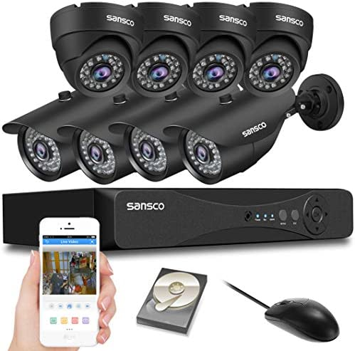 SANSCO CCTV Security Camera System with 8-Channel 1080P Smart DVR, 4 Bullet Cameras and 4 Dome Cameras All HD 1080p 2MP , 2TB Internal Hard Drive Disk – All-in-One Video Surveillance Kit