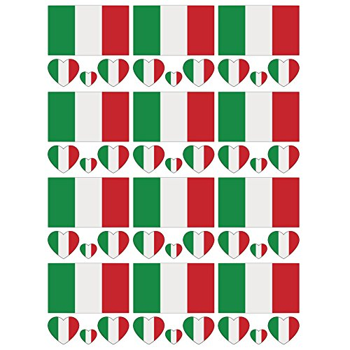 - SpringPear 12x Temporary Tattoos of Italy Flag for International Competitions Olympic Games World Cup Waterproof Flags Tattoo Sticker Fan Set (12 Pcs)