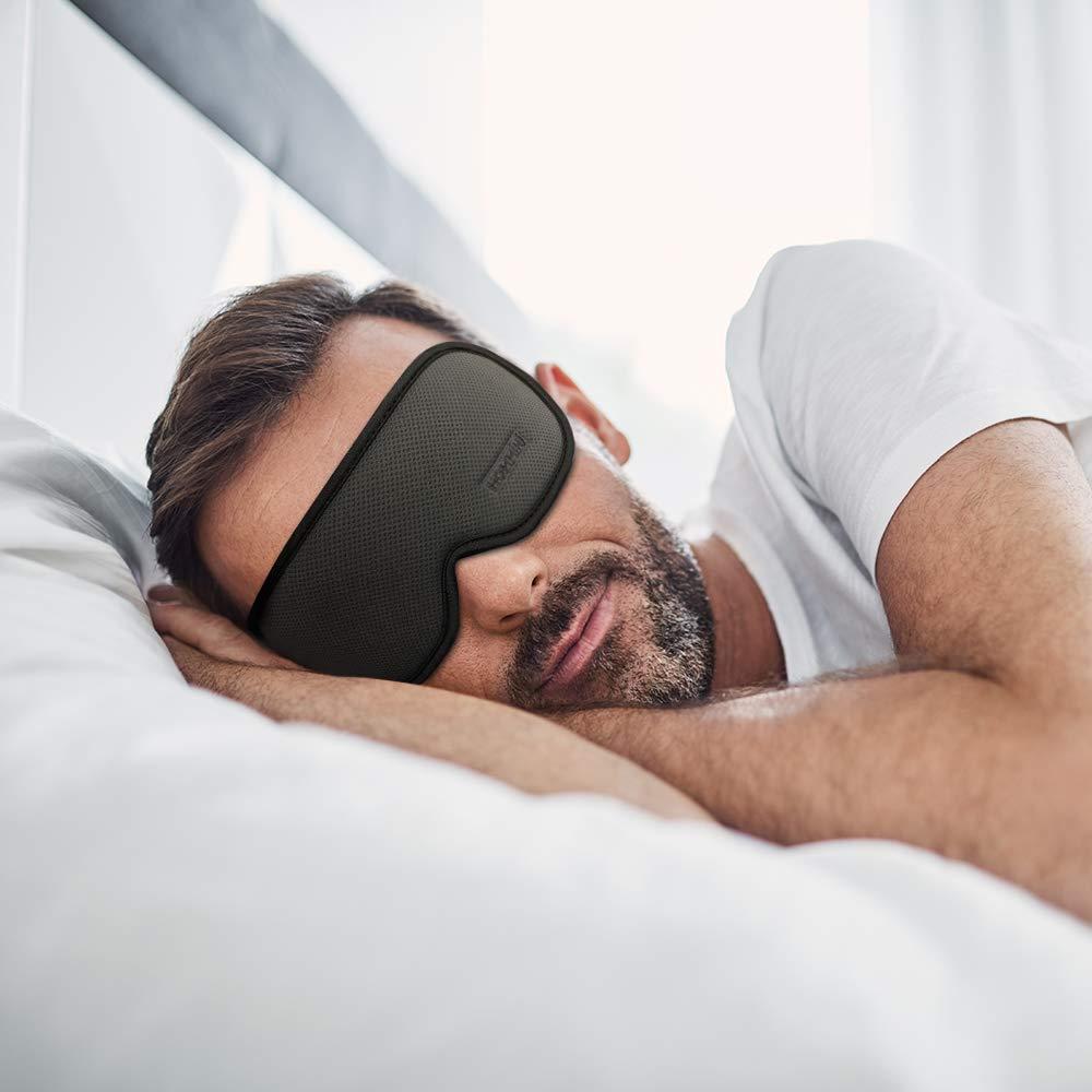 HOMMINI Masque de Nuit 3D Contoured Masque de Sommeil avec Bouchons doreille pour Masque Avion 100/% Lumi/ères Blackout Masque de Yeux pour Voyages
