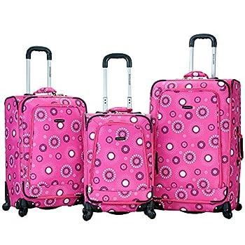 Image of Rockland Luggage Fusion 3 Piece Luggage Set, Pink Pearl, Medium Luggage