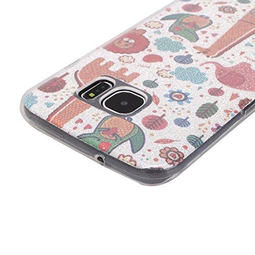Funda Samsung Galaxy S7Edge/G935 Carcasa 5.5 Pulgadas Caso Suave TPU Transparente Case Soporte Flexible Parachoque Ultra Delgado Piel Pintura con Papel Pintado Brillo y Correa Colgante para Samsung Ga Animal