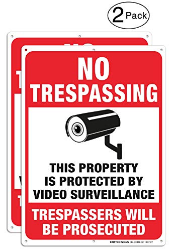 (2 Pack Video Surveillance Signs, No Trespassing Violators Will Be Prosecuted Metal Reflective Warning Sign, 10 x 7 Inches 0.40 Aluminum Indoor Or Outdoor Use for Home Business CCTV Security Camera)