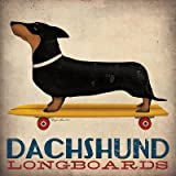 Dachshund Longboards by Ryan Fowler Skateboard Sign Dogs Animals Print Poster