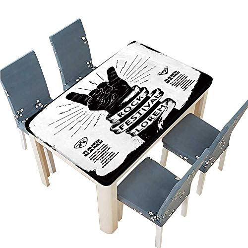 PINAFORE 100% Polyester Luxury Tablecloth Rock Festival Poster Rock and roll Hand Sign Resistant and Waterproof Tablecloths W61 x L100 INCH (Elastic Edge)