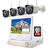 "ONWOTE All-in-one 1080P HD NVR Wireless Home Security Camera System Outdoor with 10.1"" LCD Monitor, 1TB Hard Drive and 4 Night Vision IP Surveillance Camera, Remote Home Monitoring System, Plug n Play"