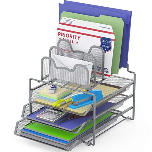 DecoBros Desk File Sorter Organizer Sliver 5 Sections Sliver