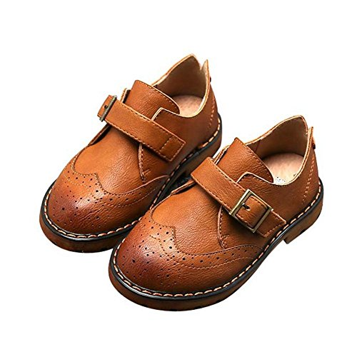 (F-OXMY Toddler Boy Wing-Tip Oxford Dress Shoes Kids Slip-on Non-Slip Walking Casual Shoes)