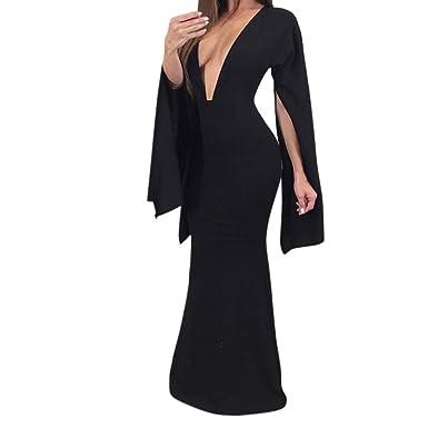 ❤️Xinantime Vestido sexy de mujer Vestido elástico de manga larga con escote en V profundo sin espalda Vestido largo de noche de fiesta en la playa: ...