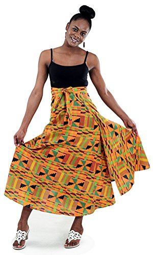 African Kente Print Wrap Skirt - Pattern 2