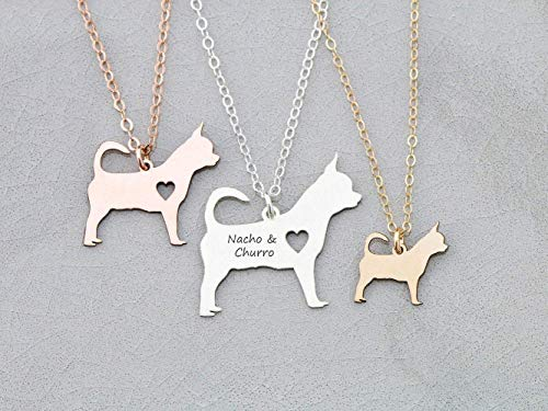 - Teacup Chihuahua Dog Necklace - IBD - Personalize with Name or Date - Choose Chain Length - Pendant Size Options - 935 Sterling Silver 14K Rose Gold Filled Charm - Ships in 1 Business Day