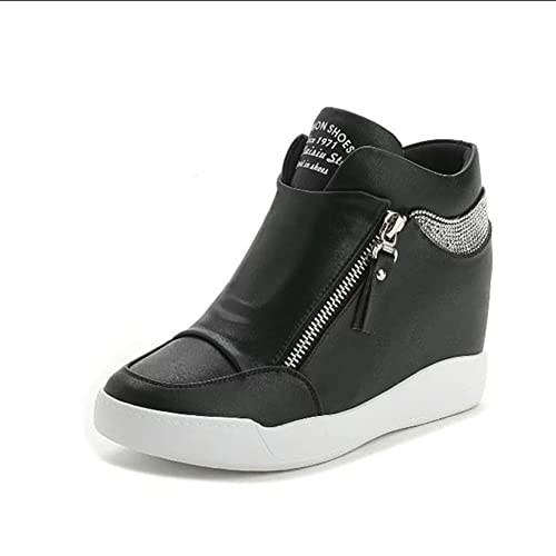 58f4e160a1a U-MAC Women s High Top Sneakers for Women Wedges Breathable Anti-Slip  Rubber Casual