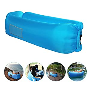 Beiruoyu BNY Inflatable Lounger Air Sofa Couch Lounge Bag Chair Hammock with Carrying Bag for Indoor or Outdoor Beach Camping Picnics (SkyBlue)