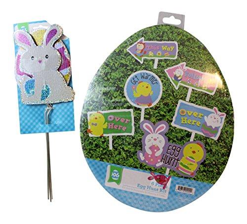Easter Egg Hunt Sign and Yard Decor Bundle: 6 pc Egg Hunt Ki