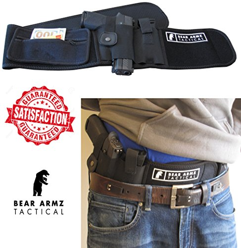 Belly Band Holster For Concealed Carry | Neoprene Waist Band Handgun Carrying System w/Mag Pouch | IWB Holster | Universal Holster For Pistols | Best Retention (left)