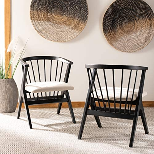 Safavieh Home Noah Black and Beige Cushion Spindle Dining Chair