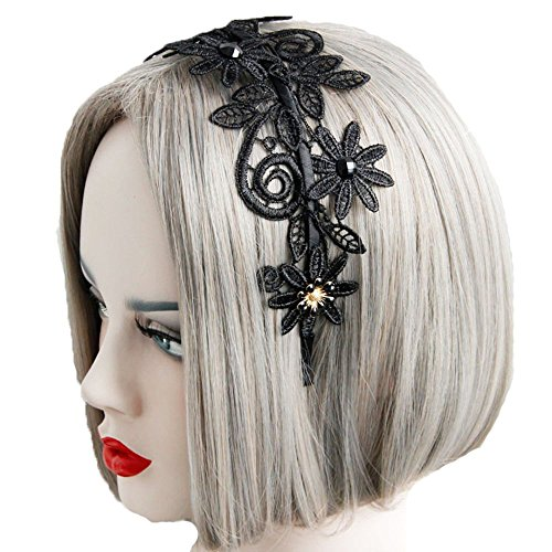 Himine Women's Hollow-out Lace Hair Hoop Headband for Party Dress (Black Lace Headband)