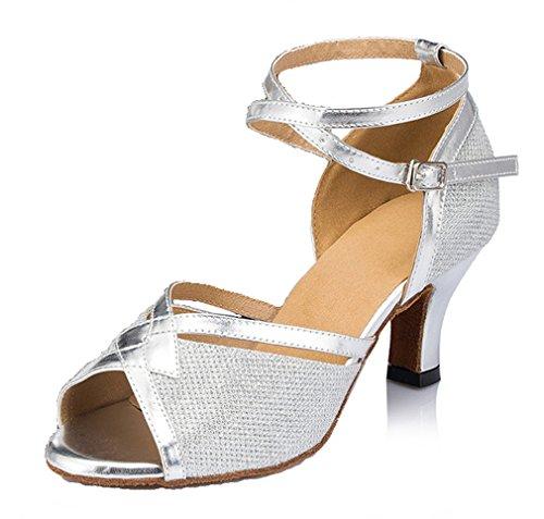 Honeystore Femmes Peep Toe Mi-talon Chaussures De Danse Latine Argent-02