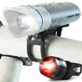 SUPER BRIGHT USB Rechargeable Bike Light- Cycle Torch Shark 300 Bicycle HeadLight- TAIL LIGHT Included- 300 Lumens LED Front Light, Fits ALL Bikes, Quick Release Flashlight Set (Silver-Grey)