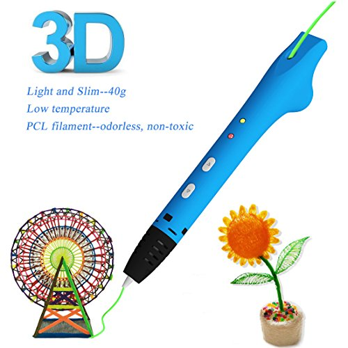 GOOAnn New Upgraded 3D Pen, 3D Printing Pen Compatible 1.75mm Low Temperature PCL Filament, 3D Doodle Drawing Pen, No Clog, 3D Art Crafts DIY Education Creation Printer Pen Kids (Blue)