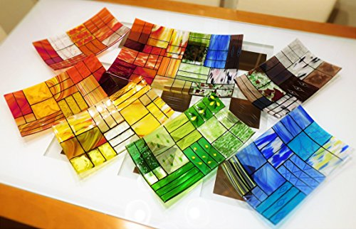 A set of 6 rectangular fused glass plates and 1 centerpiece platter